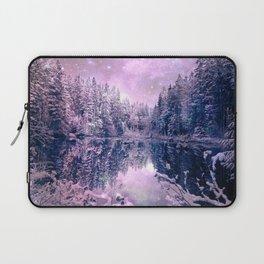 Pink Lavender Winter Wonderland : A Cold Winter's Night Laptop Sleeve