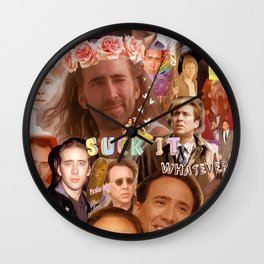 Nic Cage Collage Wall Clock