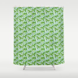 William Morris Bamboo Print, Green and White Shower Curtain