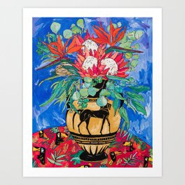 Tropical Protea Bouquet with Toucans in Greek Horse Urn on Ultramarine Blue Art Print