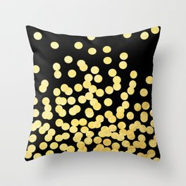 Cruz - Gold Foil Dots on Black - Scattered gold dots, polka dots, dots by Charlotte Winter Throw Pillow