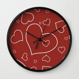 Red and White Hand Drawn Hearts Pattern Wall Clock