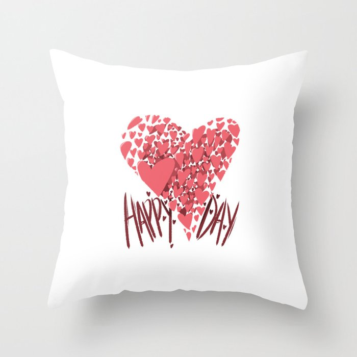 Happy Hearts Day Throw Pillow