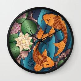 Carp Koi Fish in pond 002 Wall Clock