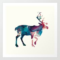 reindeer Art Prints featuring Reindeer by Andreas Lie