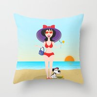 martini Throw Pillows featuring Martini Girl by Jyoti Khetan