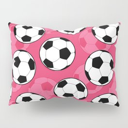 Soccer Ball Pattern with Pink Background Pillow Sham
