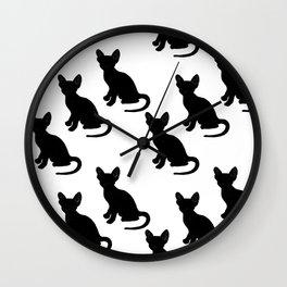 Cornish Rex Kitten Blk & Wht Wall Clock