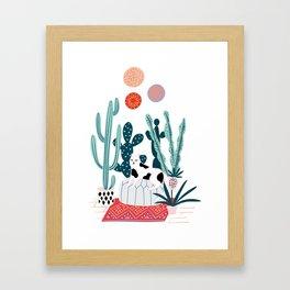 Cat and cacti Framed Art Print