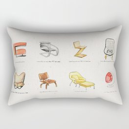 Post Modern Watercolor Chairs Rectangular Pillow