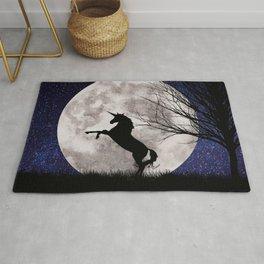 unicorn in the moonlight Rug