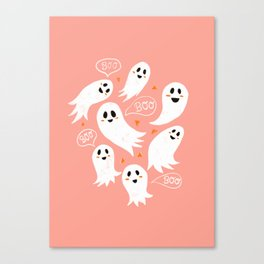 Friendly Ghosts in Pink Canvas Print