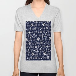 Hand Drawn Snowflake Blizzard With Navy Classic Blue Background Unisex V-Neck