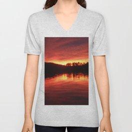 lake sunset Unisex V-Neck