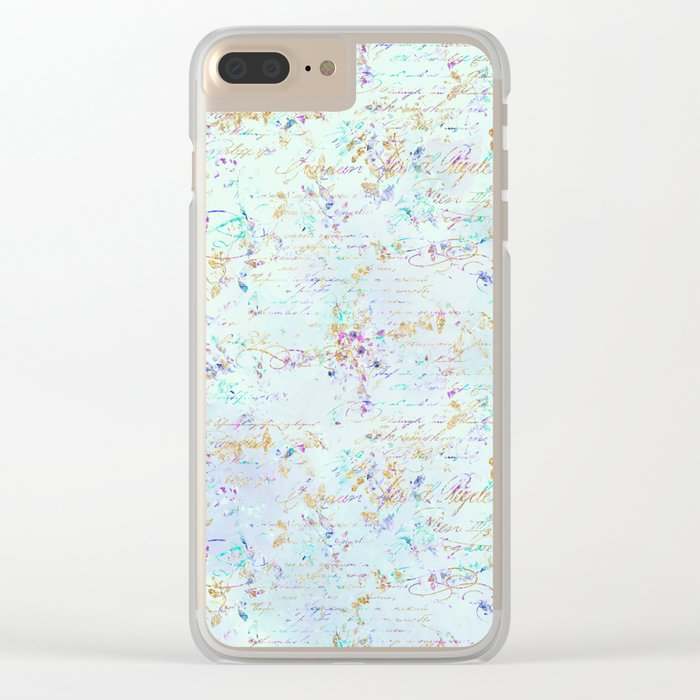 Swirls gold teal lavender Clear iPhone Case