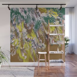 feather texture in yellow and green Wall Mural