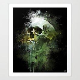 Splashed watercolor skull painting   let's get messy! Art Print