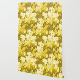 Cherry Branches White Flowers Background Golden Yellow Color #decor #society6 #buyart Wallpaper