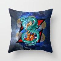 dbz Throw Pillows featuring DBZ - Goku Super Saiyan God by Mr. Stonebanks