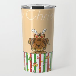 Christmas Yorkshire Terrier (Yorkie) with presents Travel Mug