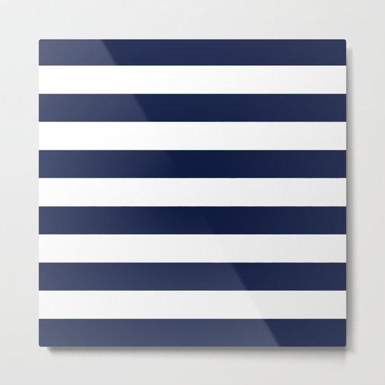 Indigo Navy Blue Bold Stripes Metal Print