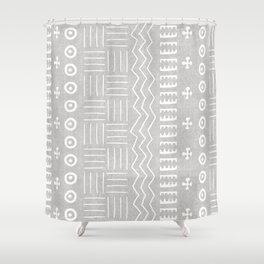 Funky African Mud Cloth in Grey Shower Curtain