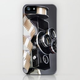 Retro mechanical movie camera and reel film iPhone Case