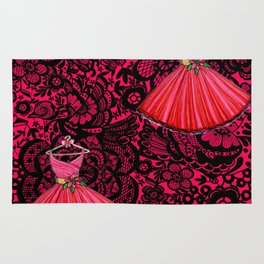 Red dress / Black Lace Rug