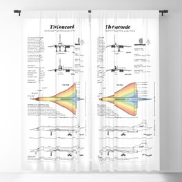 Concorde Supersonic Airliner Blueprint (white) Blackout Curtain