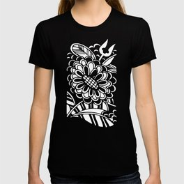 Geometric Floral Pattern in Graphic Bold Blue T-shirt