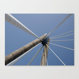 concrete and cables - modern suspension bridge - southport Canvas Print