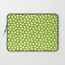 White Polka Dots on Fresh Spring Green - Mix & Match with Simplicty of life Laptop Sleeve