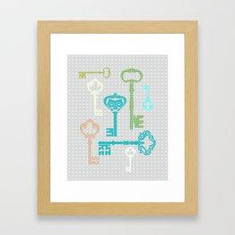 Art print bedroom decor interior design printing home decor keys bottles cups aqua green beig Framed Art Print