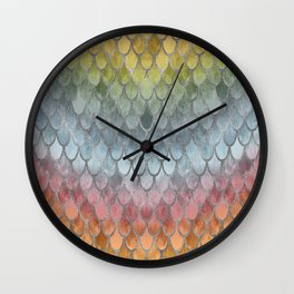 Colorful Fall Mermaid Scales Pattern silver Wall Clock