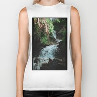 alaska Biker Tanks featuring Alaska Waterfall by Leah Flores