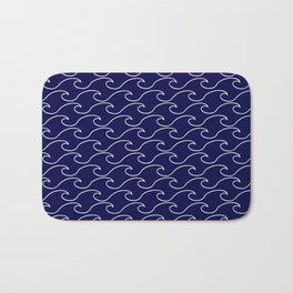 Sea Waves - white on darkblue pattern - Martitime Design Bath Mat