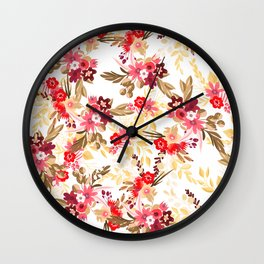 Pastel pink red brown modern hand drawn fall floral illustration Wall Clock
