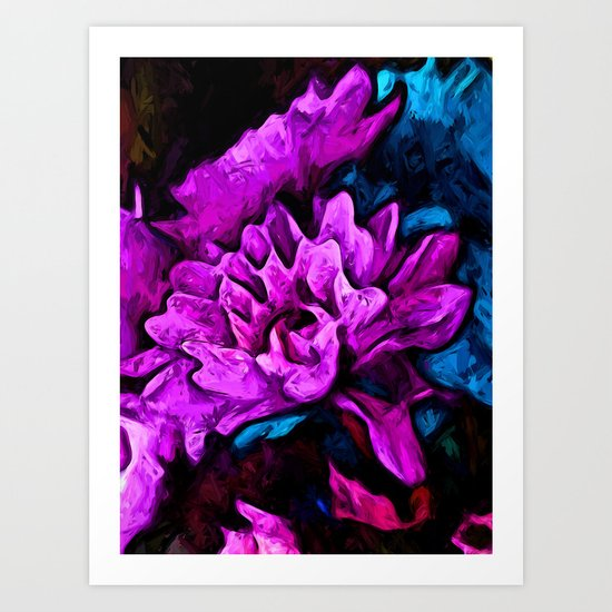 Lavender Flowers with Blue Petals and some Pink Art Print