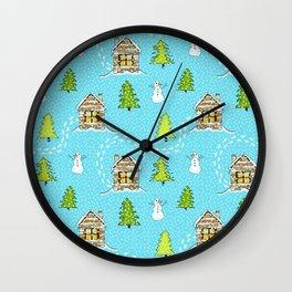 Alpine Ski lodge on Turquoise Wall Clock