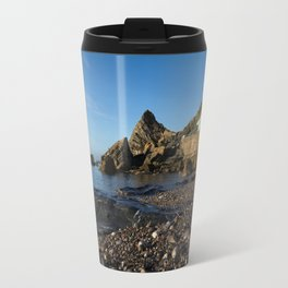 Meadfoot Beach Huts And Imposing Cliffs Travel Mug