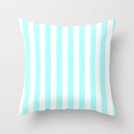 Narrow Vertical Stripes - White and Celeste Cyan Throw Pillow