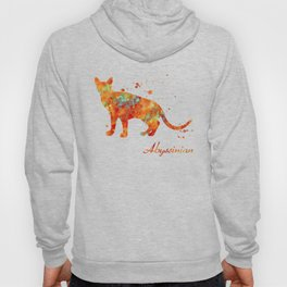 Abyssinian Cat Watercolor Orange Light Blue Abstract Hoody