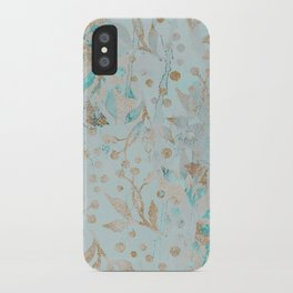 Pastel Botanical Watercolor Pattern Teal Gold Glitter iPhone Case
