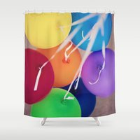 party Shower Curtains featuring party by shannonblue