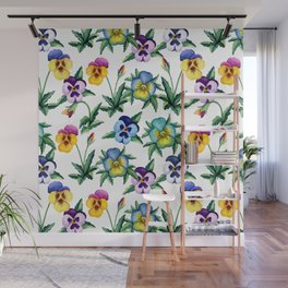 Pansy white pattern Wall Mural