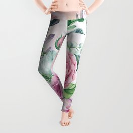 Flowers and leaves in soft purple colors Leggings