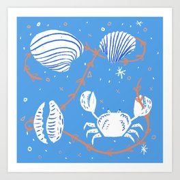 Clam, Crab, Cockle, Cowrie Art Print