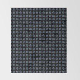 Blue Polka Dots on Black Throw Blanket