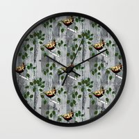 tits Wall Clocks featuring Crested Tits by LindaWinegum