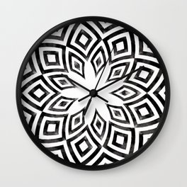 Black and white watercolor diamond pattern Wall Clock